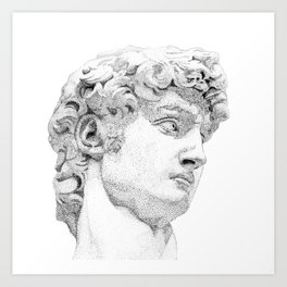Profile of David statue by Miguel Angel Art Print