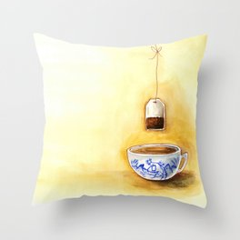 A cup of tea watercolor illustration Throw Pillow