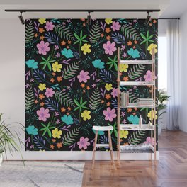 Funky Florals with Black Background Wall Mural