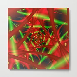 Red and Green Spiral Metal Print