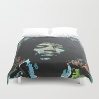 rock and roll Duvet Covers featuring Rock and Roll Blues by Matt Pecson
