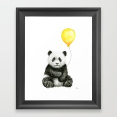 Panda Watercolor Animal with Yellow Balloon Nursery Baby Animals Framed Art Print