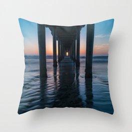 Sunset Long Exposure at Scripps Pier Throw Pillow