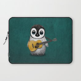 Musical Baby Penguin Playing Acoustic Guitar on Teal Blue Laptop Sleeve