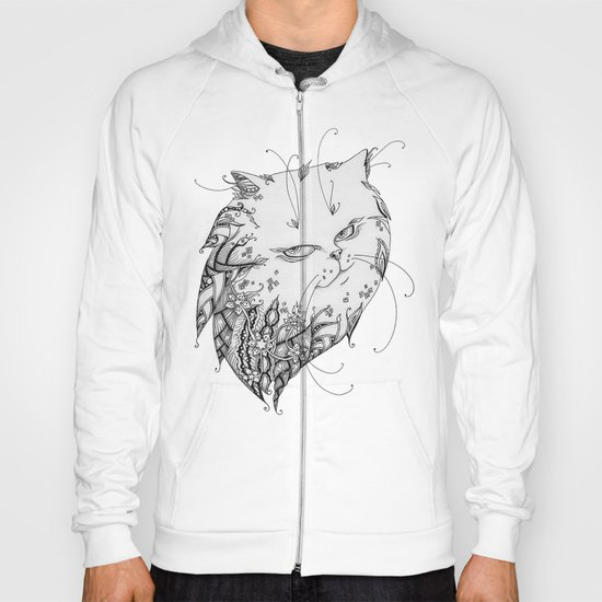 Abstract black and white cat Hoody