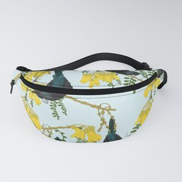 Tuis in the Kowhai Flowers Fanny Pack