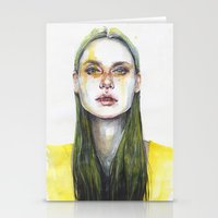 yellow Stationery Cards featuring yellow lemongrass by agnes-cecile