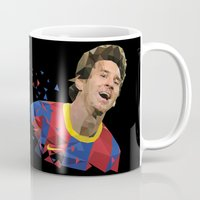messi Mugs featuring Messi  by Abhikreationz