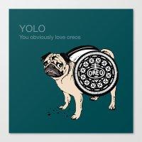yolo Canvas Prints featuring YOLO by Huebucket