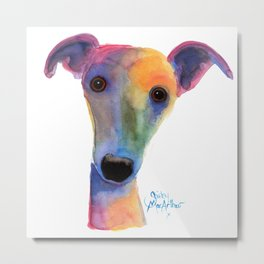 Nosey Dog Whippet Greyhound ' PANSY ' by Shirley MacArthur Metal Print