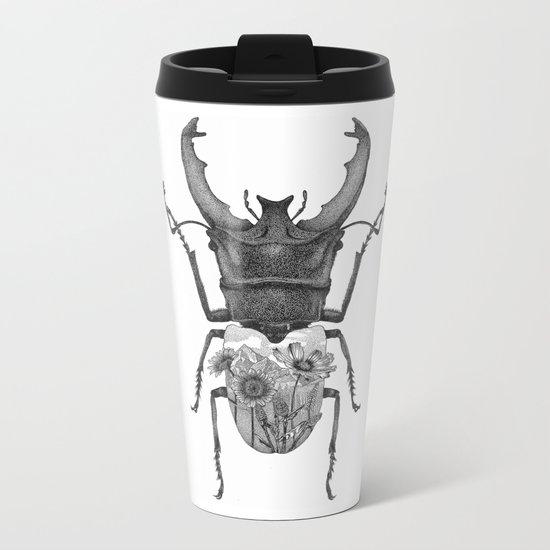 Stag Beetle with Mountain Scene Metal Travel Mug
