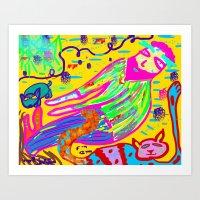 ManCatDogForest Art Print