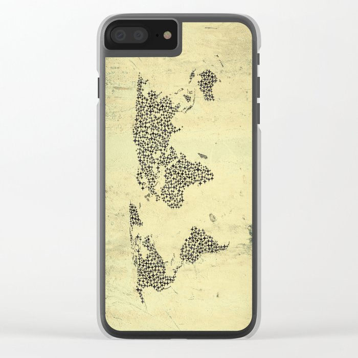 Black Star World Map Clear iPhone Case