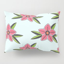 Old school tattoo flower pattern in blue Pillow Sham