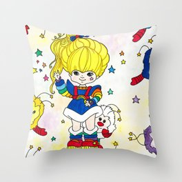 Rainbow and friends Throw Pillow
