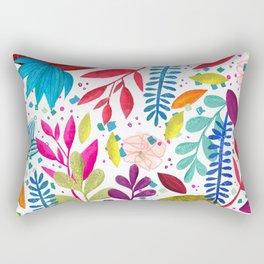 Exotic Bold Floral on White Rectangular Pillow
