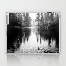 Forest Reflection Lake - Black and White  - Nature Photography Laptop & iPad Skin