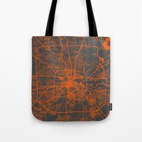 houston Tote Bags featuring Houston map by Map Map Maps