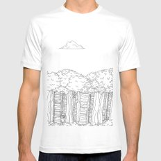 BigFoot Forest (Black and White) White MEDIUM Mens Fitted Tee