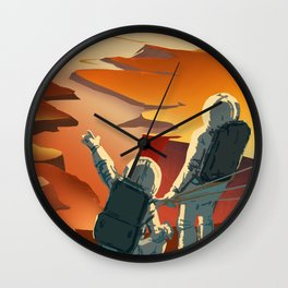 NASA Mars Recruitment Poster - Surveyors Wanted Wall Clock