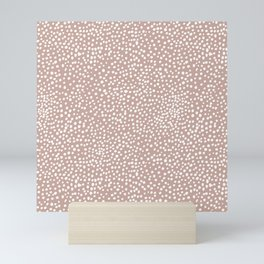 Little wild cheetah spots animal print neutral home trend warm dusty rose coral Mini Art Print