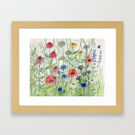 Watercolor of Garden Flower Medley Framed Art Print