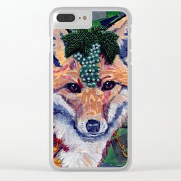Fox Wearing Jewels Collage Clear iPhone Case