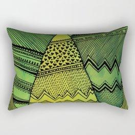 Green abstract mountains print. Modern illustration. Nature art. Summer poster. Painted home decor Rectangular Pillow