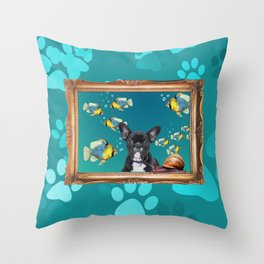 French Bulldog in Frame with fishes and snail - turquoise Throw Pillow