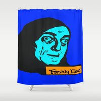 "gore Shower Curtains featuring No, it's pronounced ""Eye-gore"" 2 by Rachcox"
