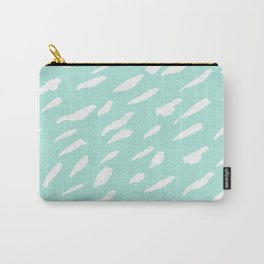 Modern aqua blue white watercolor brushstrokes Carry-All Pouch