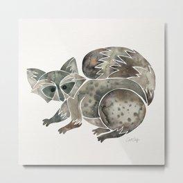 Raccoon – Warm Grey Palette Metal Print