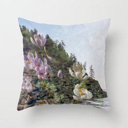 Smuggler Cove Simplicity - Film Double Exposure on the Oregon Coast with Flowers Throw Pillow