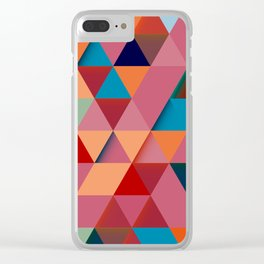 Colorfull abstract darker triangle pattern Clear iPhone Case