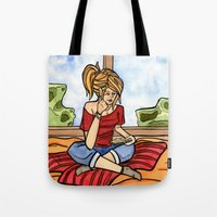 bookworm Tote Bags featuring Bookworm by Schlosser Works