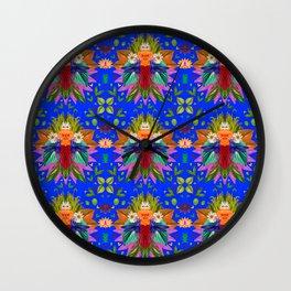 Blue Hummingbirds Pattern Wall Clock