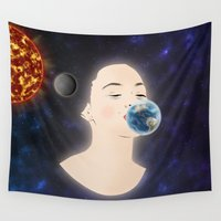 planets Wall Tapestries featuring Kissing planets by FSDisseny