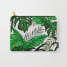 Tropical Jungle Leaf Pattern Green White Carry-All Pouch