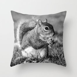 Wild Squirrel Collecting Conkers Throw Pillow