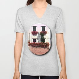 A saint and lots of flowers Unisex V-Neck