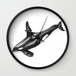 Orca killer whale ink art Wall Clock