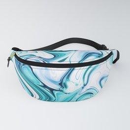Liquid Marble - aqua & blues Fanny Pack