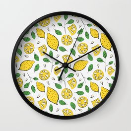 Doodle lemons pattern Wall Clock