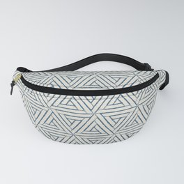 Blue & Linen White Aztec Tribal Triangle Pattern Pairs To 2020 Color of the Year Chinese Porcelain Fanny Pack