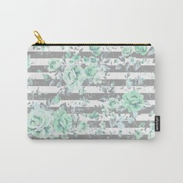 MINT FLORAL GRAY STRIPES SPRING Carry-All Pouch
