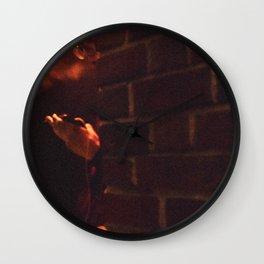 Smoker Man Watching Cell Phone Behind a Wall Wall Clock