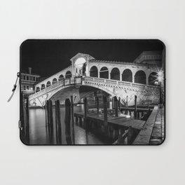VENICE Rialto Bridge at Night   Monochrome Laptop Sleeve