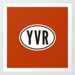 Vancouver British Columbia Canada YVR • Oval Car Sticker Design with Airport Code • Brick Red Art Print