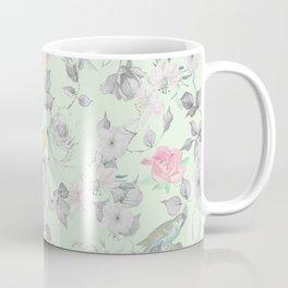 Vintage Pink White Mint Green Bird Floral Collage Coffee Mug