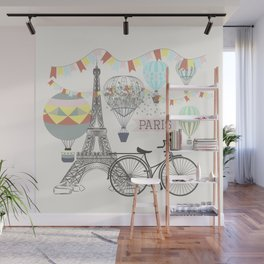 Design with hand drawn Eifel tower Wall Mural